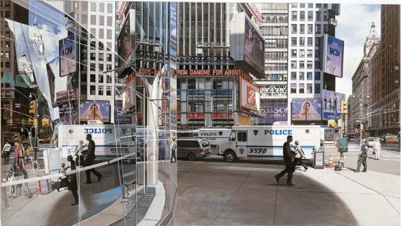 2005,  Richard Estes, La 43 y Broadway, óleo sobre lienzo, 94x168 cm